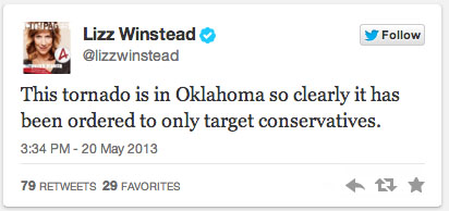 Liberal Laughing that 'Conservatives' Were Targeted by Oklahoma Tornado Today