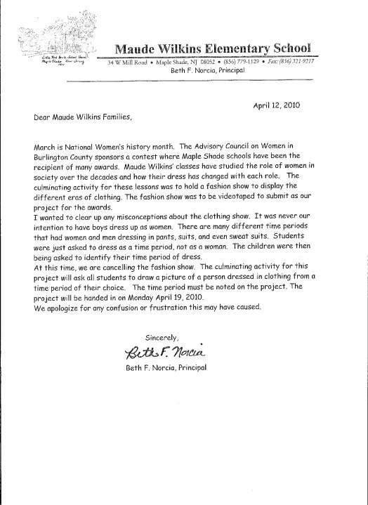 The Letter Home Announcing Cancellation Of Event